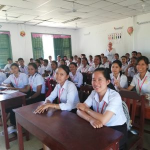 Cambodia student smiling in class