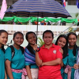 teacher and students in Cambodia