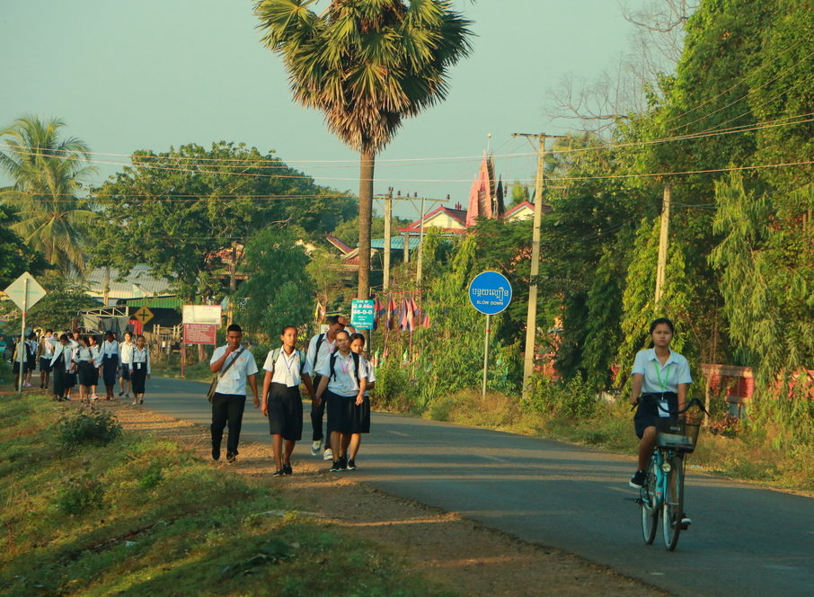 students walking to school rural cambodia